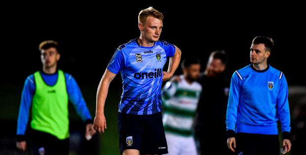 Liam Scales of UCD reacts following the SSE Airtricity League Premier Division match between UCD and Shamrock Rovers at The UCD Bowl in Belfield, Dublin. Photo by Ben McShane/Sportsfile