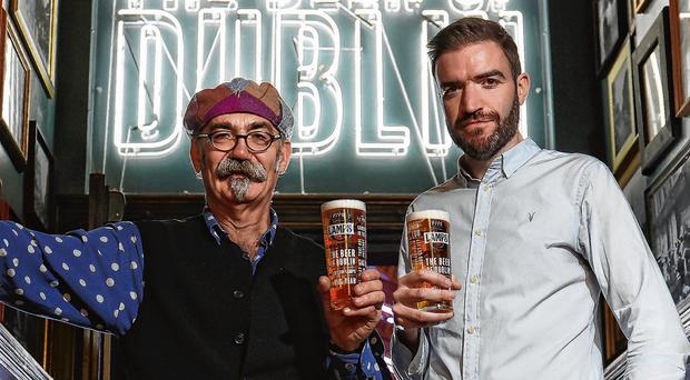 Pint taken: William Harvey, master brewer and Ross Bissett, general manager of the Five Lamps Dublin Brewery. Photo: Robbie Reynolds