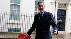 Support: Leader of the House of Commons Jacob Rees-Mogg leaves 10 Downing Street after a meeting of the cabinet. Photo: Tolga Akmen/AFP