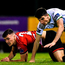 Cabinteely's Robert Manley is challenged by Drogheda United's James Brown. Photo: Sportsfile