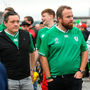 Shane Lowry, centre, and his manager Conor Ridge, left, arrive for the match