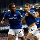 Everton's Bernard (right) celebrates scoring his side's first goal of the game with team mate Alex Iwobi during the Premier League match at Goodison Park, Liverpool. Saturday October 19, 2019. Martin Rickett/PA Wire.