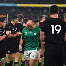 New Zealand players applaud Rory Best of Ireland and his team-mates after the 2019 Rugby World Cup Quarter-Final match between New Zealand and Ireland at the Tokyo Stadium in Chofu, Japan. Photo by Brendan Moran/Sportsfile
