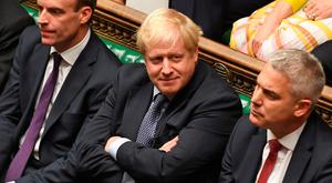 Britain's Prime Minister Boris Johnson in the House of Commons during a debate on the Brexit deal (Photo by JESSICA TAYLOR/UK PARLIAMENT/AFP via Getty Images)