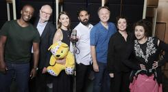 Adrian Lester, Jim Broadbent, Suranne Jones, Himesh Patel, Shaun Dooley, Olivia Colman and Helena Bonham Carter during the recording at Abbey Road Studios, London, for BBC Children in Need: Got It Covered (Ray Burmiston/BBC)