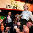 Dara Calleary and Lisa Chambers celebrate after they were elected for Mayo in 2016. Picture; Gerry Mooney