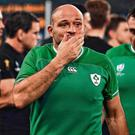 On the way out: Rory Best and Niall Scannell leave the field after Saturday's drubbing at the hands of New Zealand. Photo: Brendan Moran/Sportsfile