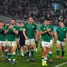 A dejected Ireland team applaud their fans after the 2019 Rugby World Cup Quarter-Final match between New Zealand and Ireland at the Tokyo Stadium in Chofu, Japan. Photo by Brendan Moran/Sportsfile