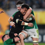 Ardie Savea of New Zealand is tackled by Cian Healy and Iain Henderson of Ireland during the 2019 Rugby World Cup Quarter-Final match between New Zealand and Ireland at the Tokyo Stadium in Chofu, Japan. Photo by Ramsey Cardy/Sportsfile