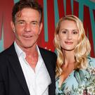 (L-R) Dennis Quaid and fiancee Laura Savoie arrive at the