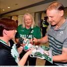 Head coach Joe Schmidt is greeted by supporters on the Ireland Rugby Team's return at Dublin Airport from the Rugby World Cup. Photo by David Fitzgerald/Sportsfile