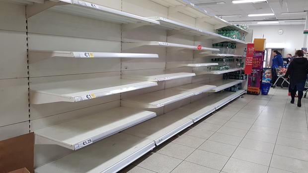 Tesco in Blanchardstown had to get in fresh supplies of water as people flocked to the shops to buy bottled water.