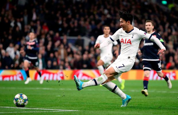 Son Heung-min slots home Tottenham's third goal of the night. Photo: Nick Potts/PA Wire