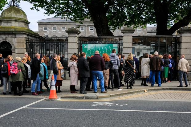 Members of the public queue to hear Taoiseach Leo Varadkar make a formal statement of 'Acknowledgement and Apology' on behalf of the State to the women and families affected by the CervicalCheck debacle. Photo: Gareth Chaney/Collins