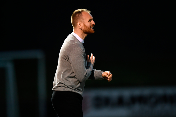 St Patrick's Athletic head coach Stephen O'Donnell is pictured during the SSE Airtricity League Premier Division win over Derry City at Ryan McBride Brandywell Stadium in Derry. Photo: Oliver McVeigh/Sportsfile