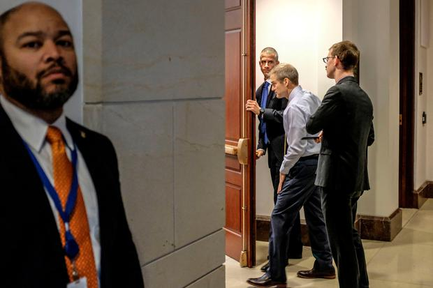 U.S. House Oversight and Reform Committee ranking member Rep. Jim Jordan (R-OH), enters a closed session before the House Intelligence, Foreign Affairs and Oversight committees on Capitol Hill on October 23, 2019 in Washington, DC. Photo by Alex Wroblewski/Getty Images