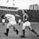 Partizan's Fahrudin Vasovic (left) heads the ball away from Denis Law during Manchester United's last visit to Belgrade back in 1966. Photo: Staff/Mirrorpix/Getty Images