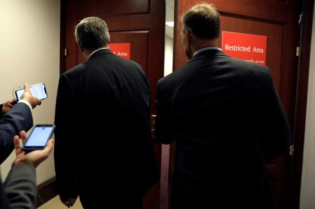 Congressman Mark Meadows (R-NC) (L) enters a secure area as Deputy Assistant Secretary of Defense Laura Cooper testifies in a closed-door deposition as part of the U.S. House of Representatives impeachment inquiry into U.S. President Donald Trump on Capitol Hill in Washington, U.S., October 23, 2019. REUTERS/Yuri Gripas