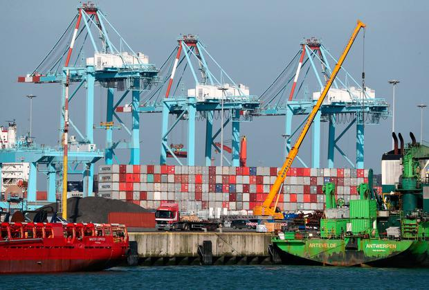 Freight: Shipping containers at the port of Zeebrugge in Belgium. Photo: PA