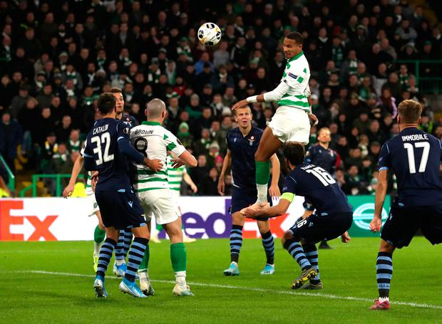 Christopher Jullien of Celtic scores his team's second goal. Photo: Ian MacNicol/Getty Images