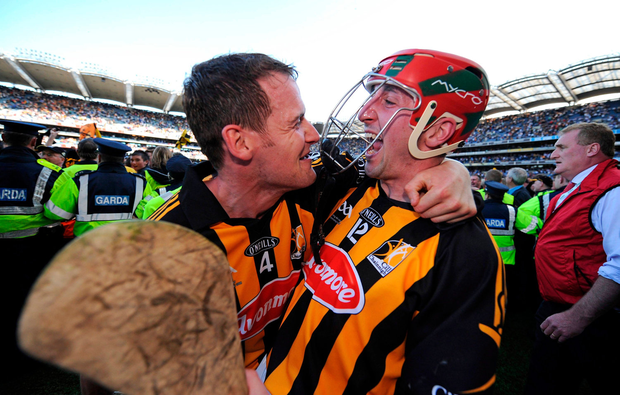 Eoin Larkin celebrates with club and county team-mate Jackie Tyrrell after victory in the 2008 All-Ireland final. The pair will line up together again tomorrow as James Stephens take on Ballyhale Shamrocks in the Kilkenny club SHC final. Picture credit: Brendan Moran / Sportsfile