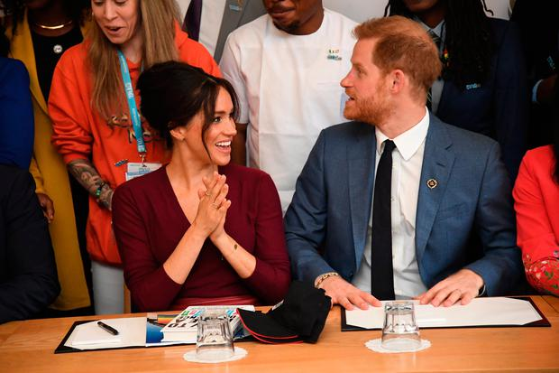 Meghan, Duchess of Sussex and Prince Harry, Duke of Sussex attend a roundtable discussion on gender equality with The Queens Commonwealth Trust (QCT) and One Young World at Windsor Castle on October 25, 2019 in Windsor, England. (Photo by Jeremy Selwyn - WPA Pool/Getty Images)