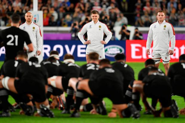 Mako Vunipola England's Owen Farrell (centre), Willi Heinz (left) and Sam Underhill face the Haka before the 2019 Rugby World Cup Semi Final match against New Zealand at International Stadium Yokohama. Photo credit: Ashley Western/PA Wire.