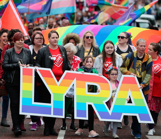 Sara Canning (front centre), partner of murdered journalist Lyra McKee, marching with protesters through Belfast city centre demanding same sex marriage in the North. Photo: Brian Lawless/PA Wire