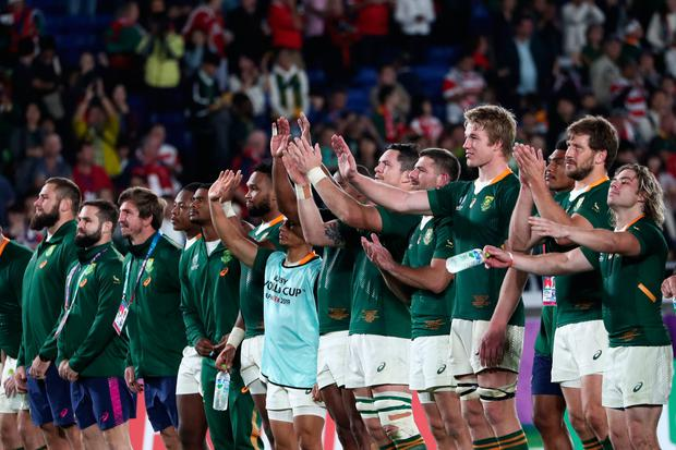 Liam Williams South Africa's players applaud the crowd after winning the Japan 2019 Rugby World Cup semi-final match between Wales and South Africa at the International Stadium Yokohama in Yokohama on October 27, 2019. (Photo by Behrouz MEHRI / AFP) (Photo by BEHROUZ MEHRI/AFP via Getty Images)