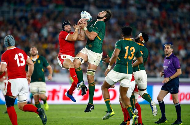 Leigh Halfpenny and Lood de Jager jump for a high ball. Photo: Steve Haag/Gallo Images/Getty Images