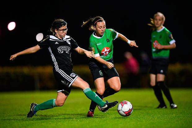 Cork City's Katie O'Donovan in action against Megan Smyth Lynch of Peamount United. Photo: Stephen McCarthy/Sportsfile