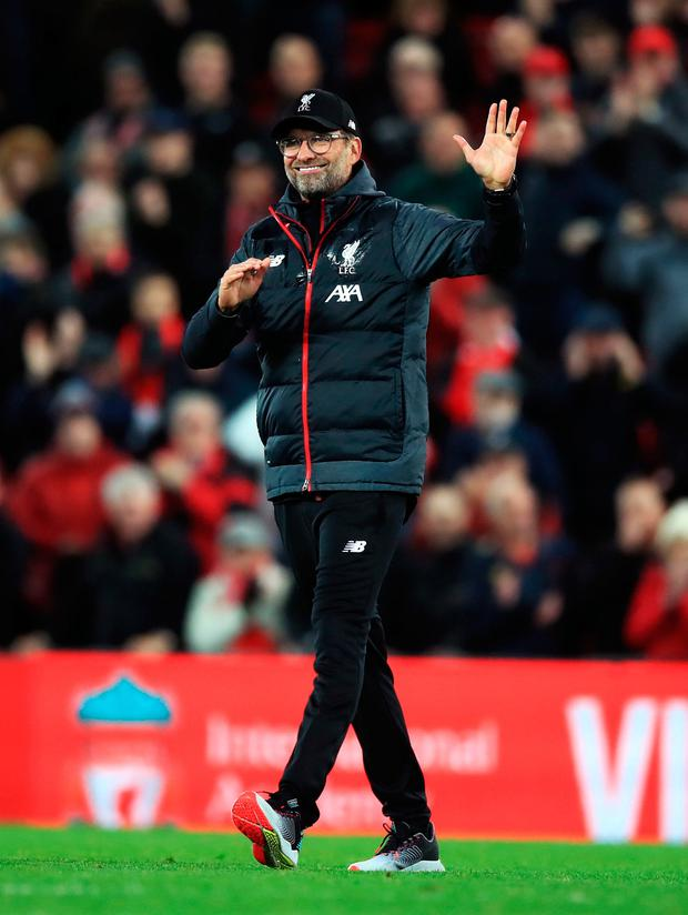 Liverpool manager Jurgen Klopp acknowledges the crowd after the match. Photo: Peter Byrne/PA Wire