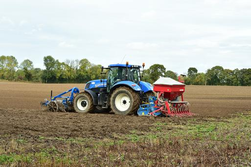 Contractor Philip Doyle seen here taking advantage of a clear spell to sow winter barley at 12 stone/ac on Michael Nolan's farm in Fenah, Co Carlow. Photo Roger Jones.
