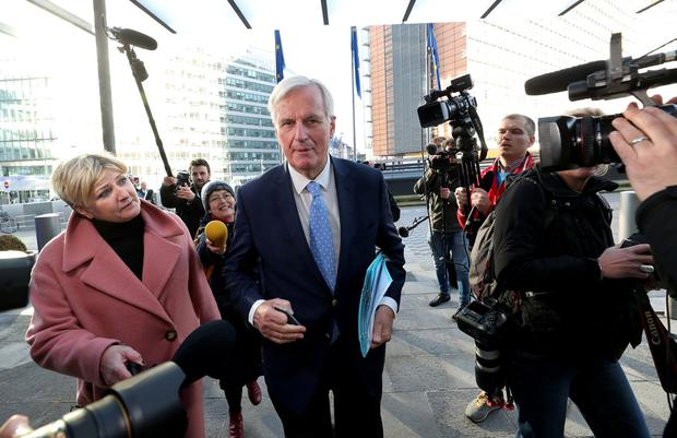 Talks: EU chief Brexit negotiator Michel Barnier arrives at the European Commission to discuss the Brexit extension. Photo: REUTERS/Yves Herman