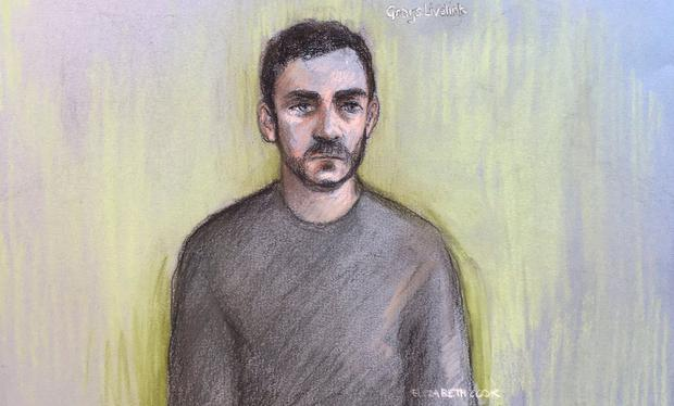 The court sketch of Maurice 'Mo' Robinson. Photo: Elizabeth Cook/PA Wire