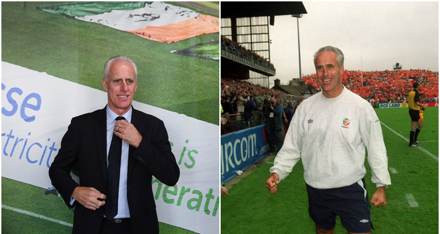 Mick McCarthy at the Ireland squad announcement (left) and after the World Cup qualifier win over the Netherlands in 2001.