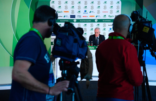 In focus: Ireland manager Mick McCarthy answers questions watched by cameramen in Dublin yesterday. Photo by Stephen McCarthy/Sportsfile