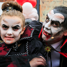 Spook-tacular: Dracula (actor David Herlihy) and Makayla Sweetman launch North Dublin's Big Scream Halloween Festival. Photo: Gareth Chaney / Collins
