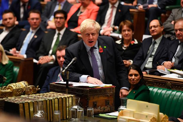 Excuse: British Prime Minister Boris Johnson speaking in the House of Commons yesterday. Photo: UK Parliament/Jessica Taylor/PA Wire