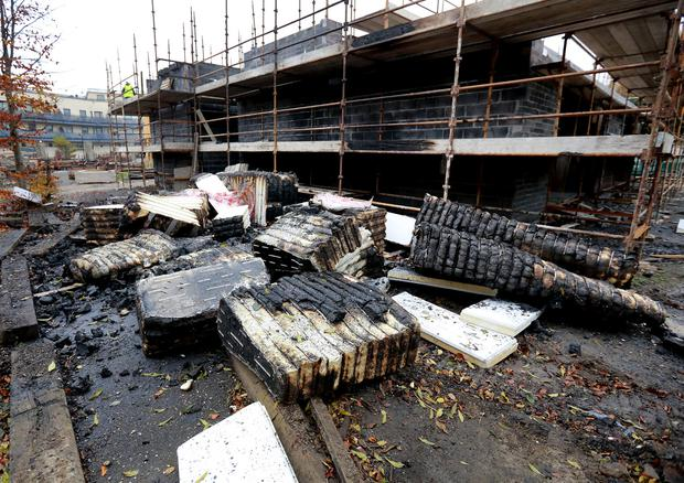 Wall insulation which was set on fire beside building works at Ladyswell national school Mulhuddart. Picture: Frank McGrath