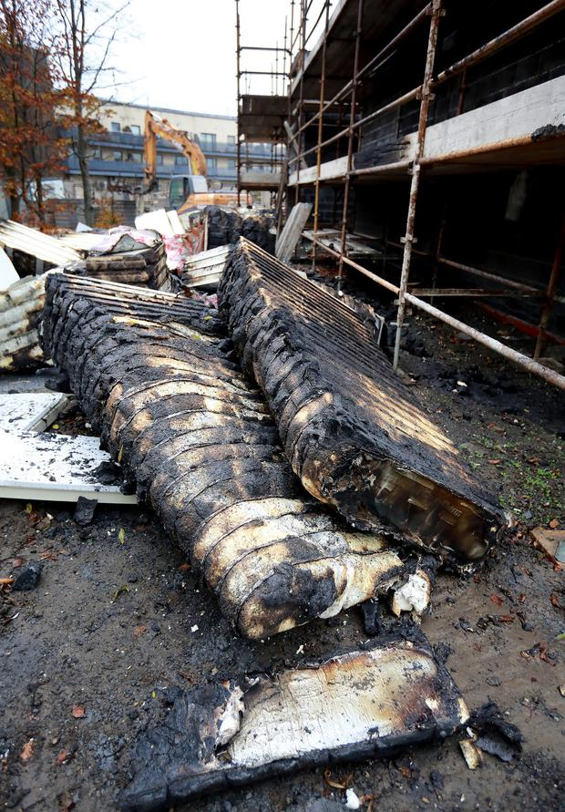Wall insulation which was set on fire beside building works at Ladyswell national school Mulhuddart.Picture:Frank McGrath