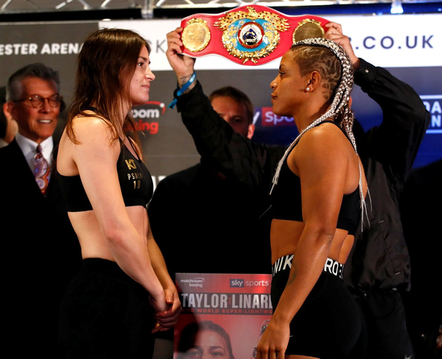 Katie Taylor and Christina Linardatou face off during the weigh-in. Action Images via Reuters/Jason Cairnduff