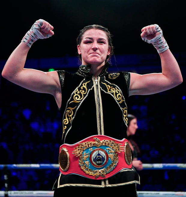 Katie Taylor celebrates following her victory over Christina Linardatou. Photo: Stephen McCarthy/Sportsfile