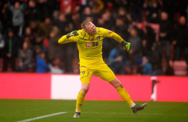 Bournemouth goalie Aaron Ramsdale celebrates his team's goal. Photo: Harry Trump/Getty Images