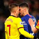 Jorginho of Chelsea clashes with Gerard Deulofeu of Watford. Photo: Catherine Ivill/Getty Images