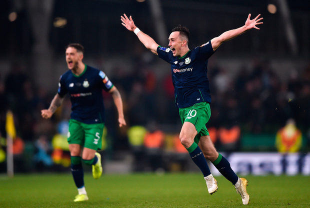 Aaron McEneff of Shamrock Rovers celebrates after scoring his side's first goal, a penalty, during the extra.ie FAI Cup Final between Dundalk and Shamrock Rovers at the Aviva Stadium in Dublin. Photo by Ben McShane/Sportsfile