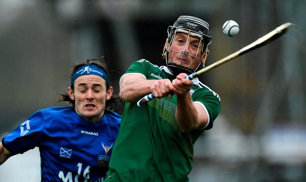 Danny Cullen of Ireland in action against Andrew King of Scotland. Photo: Piaras Ó Mídheach/Sportsfile
