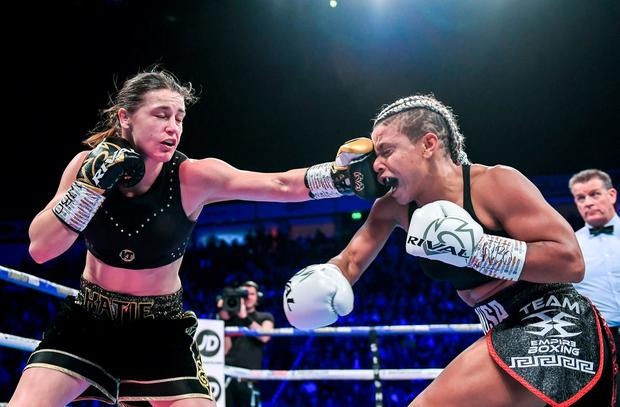 Taylor lands a left hand on her opponent. Photo: Stephen McCarthy/Sportsfile