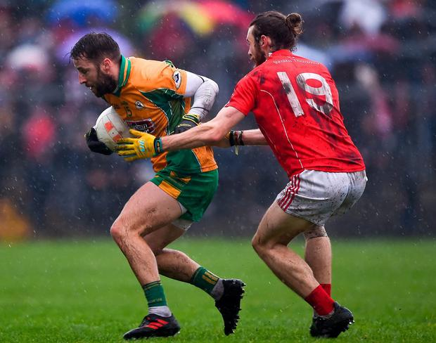 Micheál Lundy of Corofin in action against Darragh ORourke of Tuam Stars. Photo: Daire Brennan/Sportsfile