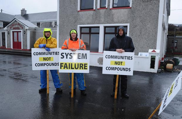 Action: A vigil protest has been in place at the Achill Head Hotel for a number of days. Photo: Conor McKeown